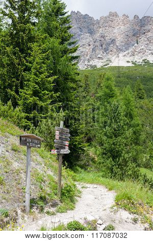 Sign Post In The Dolomites
