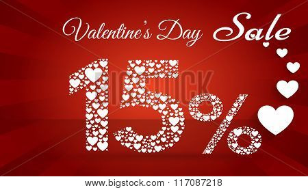 Valentine`s Day Sale,  15 Percent Discount Made Of Little Hearts. Vector