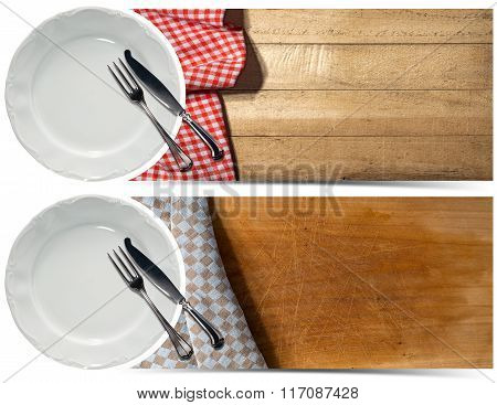 Set Of Kitchen Banners With Plate