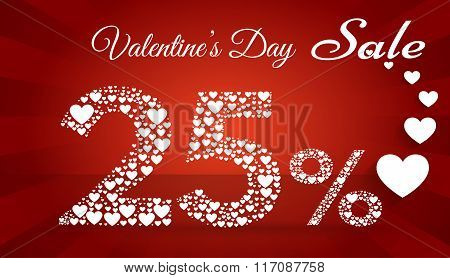 Valentine`s Day Sale,  25 Percent Discount Made Of Little Hearts. Vector