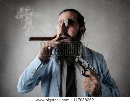 Portrait of a modern gangster