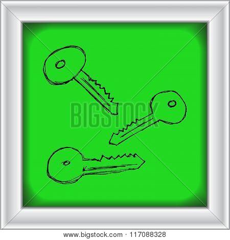 Set Of Cartoon Style Key