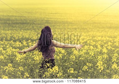 Beautiful Lovely Free Woman In Sunny Summer Nature From Behind
