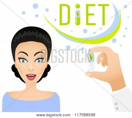 Diet pills ad banner concept. Healthy lifestyle Dietary supplement.