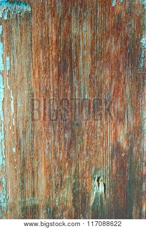 Macro of old plank wooden background with wood grain brown texture