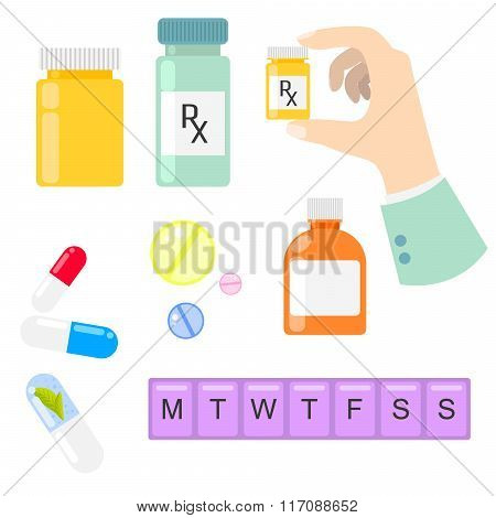 Pills and drug medicaments in flat style.