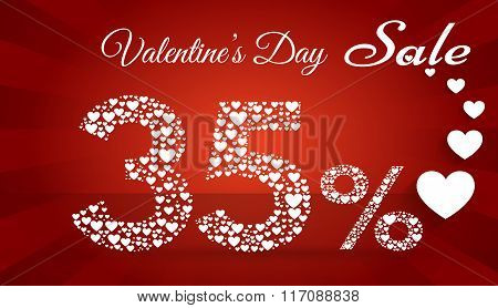 Valentine`s Day Sale, 35 Percent Discount Made Of Little Hearts. Vector