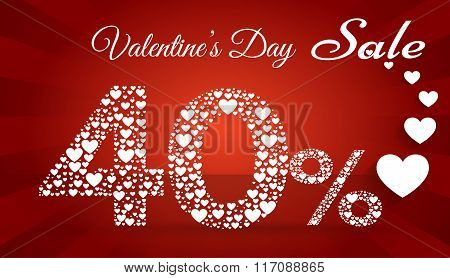 Valentine`s Day Sale, 40  Percent Discount Made Of Little Hearts. Vector