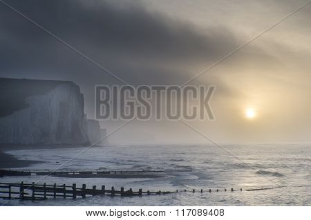 Beautiful Dramatic Foggy Winter Sunrise Seven Sisters Cliffs Landscape In England