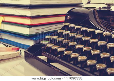 Books And Vintage Typewriter