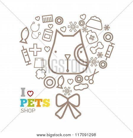 Vector Logo Design Template For Pet Shops Set, Badge For Websites And Prints
