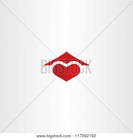 Home Sweet Home Logo Heart And House Roof Icon