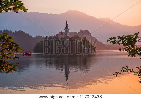 An Island With Church In Bled Lake, Slovenia At Sunrise
