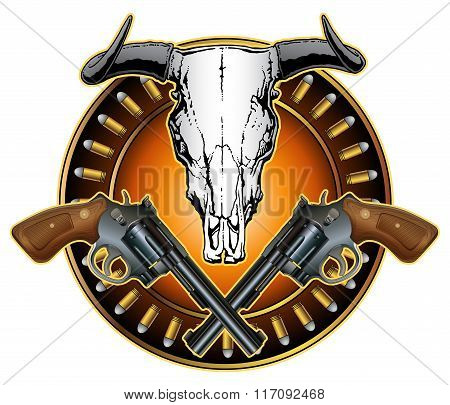 Western Crossed Pistols And Skull Design