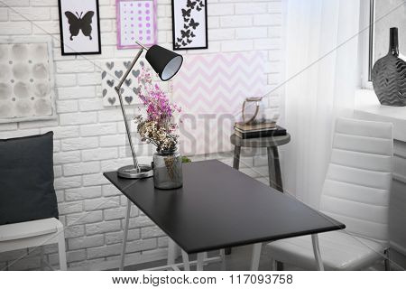 Modern dining room interior in black and white tones
