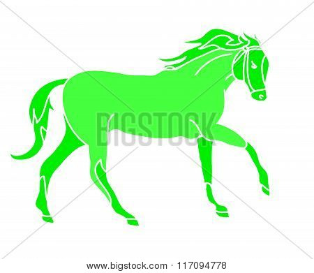 The Silhouette Of A Horse Gallop (greens)