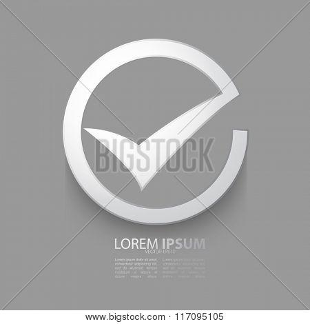 checkmark metallic icon flat design
