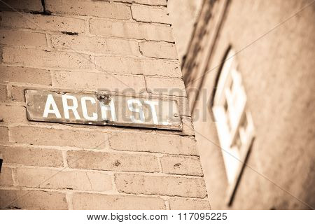 Historic Arch St. Sign in Philadelphia