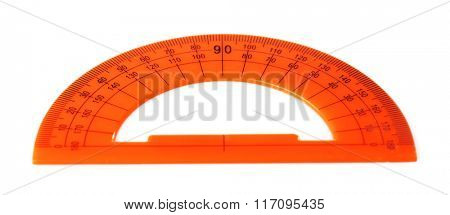 Orange protractor ruler, isolated on white