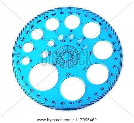 Blue circle ruler, isolated on white