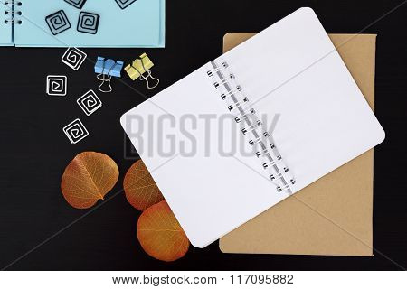 Notebooks with stickers and dry leaves on black table