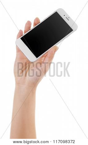 Hand holding white touch screen smart phone isolated on white background