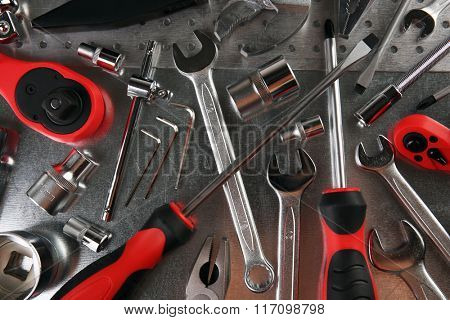 Different kinds of tools closeup