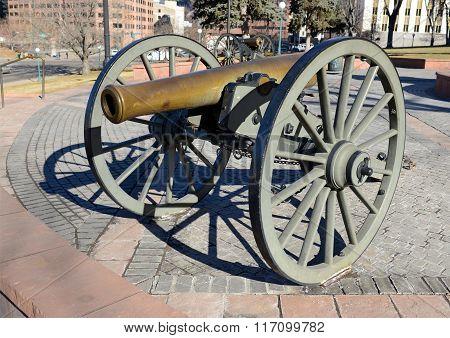 Vintage Civil War cannon in Denver Colorado