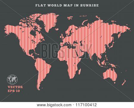 World map. Striped rose map silhouette on dark gray background. Sunrise theme design. Vector isolate