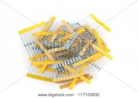 resistors for electronic devices isolated on white
