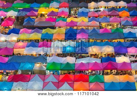 Aerial view of flea market multiple colours