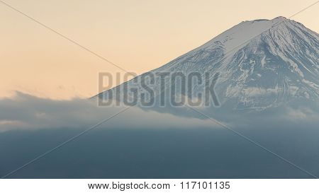 Closed up Fuji Mountain with snow cover in winter