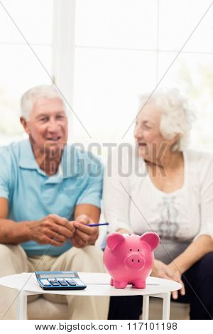 Senior couple saving money at home