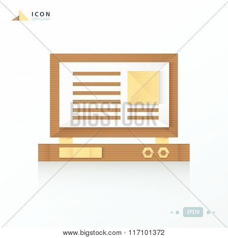 Laptop Origami Icon Paper Design