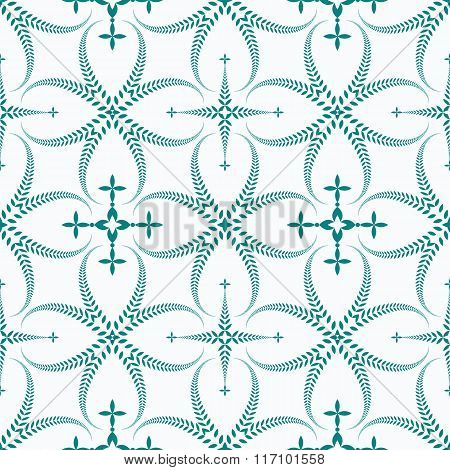 Religion seamless pattern. Laurel wreath, lace view texture with cross. Ceremonial background. Turqu
