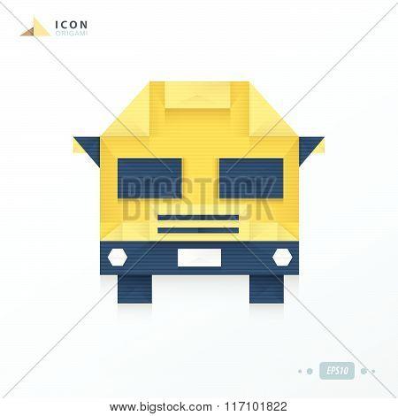 School Bus Origami Icon Design