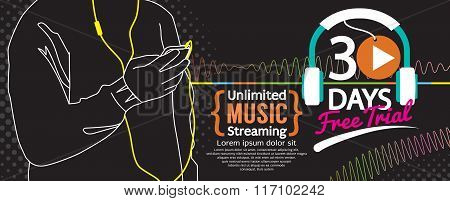 30 Days Free Trial Music Streaming 1500X600 Banner.