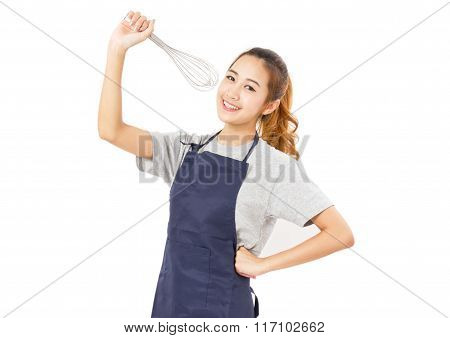 Asian Woman Wearing Apron And Singing With Whisk Isolated On White.