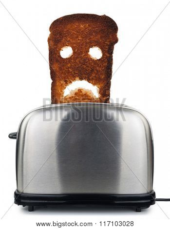 Burnt toast bread  in a toaster