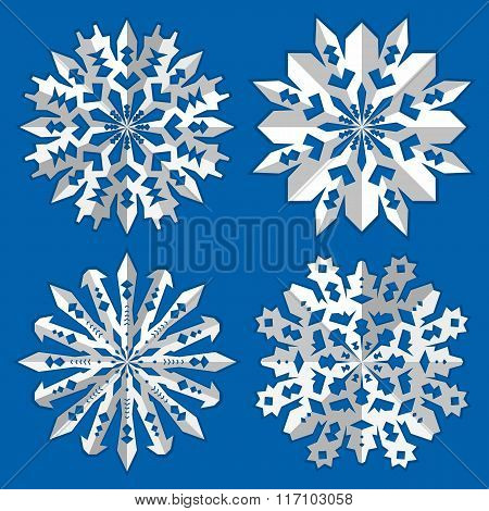 Christmas snowflake icon set. Paper origami cut out sign with shadow. Winter, New Year, childhood, n
