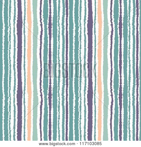 Seamless striped pattern. Vertical narrow lines. Torn paper, shred edge texture. Blue, white, orange