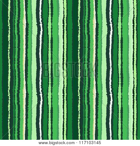 Seamless strip pattern. Vertical lines with shred edge, torn paper effect. Green, white, gray contra