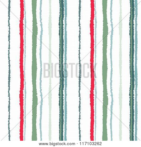 Seamless strip pattern. Vertical lines with torn paper effect. Shred edge texture. Gray, red contras