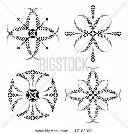 Laurel wreath tattoo set. Black ornaments, signs on white background. Victory, peace, glory symbol.