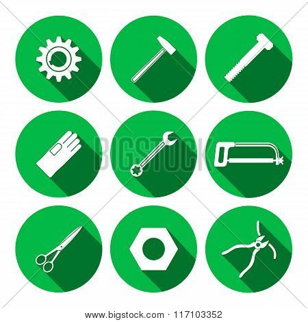 Tools icons set. Saw, tongs, wrench key, cogwheel, hammer, rubber gloves, screw bolt, nut, scissors.
