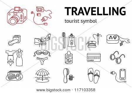 Set of line travel icons. Tourism, trip, vacation accessories symbol. Icons for travaling memo, inst