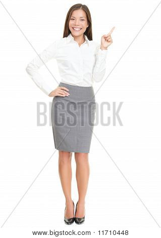 Woman Pointing On White