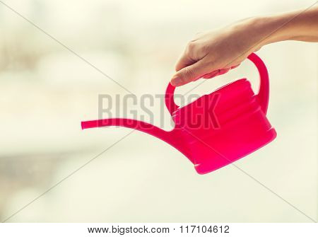 close up of woman hand holding watering can
