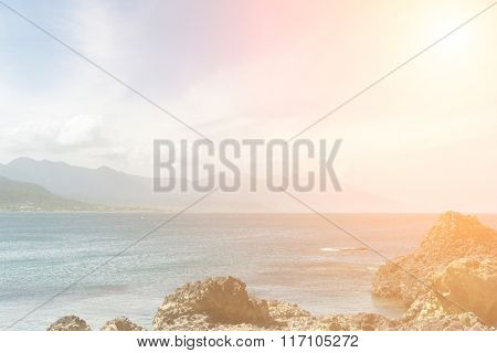 Coastline scenery of coral reefs and waves in Sanxiantai, Chenggong Township, Taitung County, Taiwan, Asia.