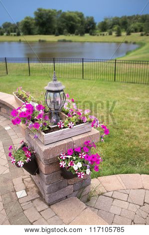 Luxury Patio Stone Pillar With Flower Boxes